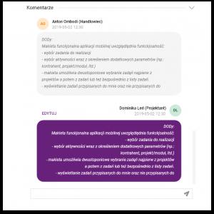 Zrzut ekranu systemu Icon - fragment widgetu dodawania komentarzy
