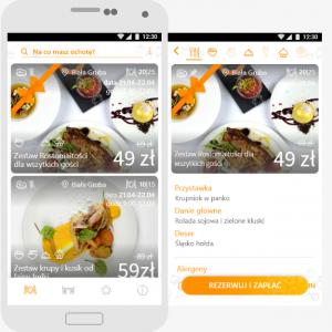 Zdjęcie aplikacji Resto na telefoie - prezentowany jest ekran wyboru zestawu