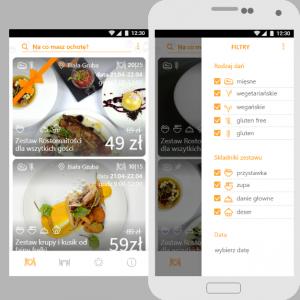 Zdjęcie aplikacji Resto na telefonie - prezentowane menu wyboru filtrów