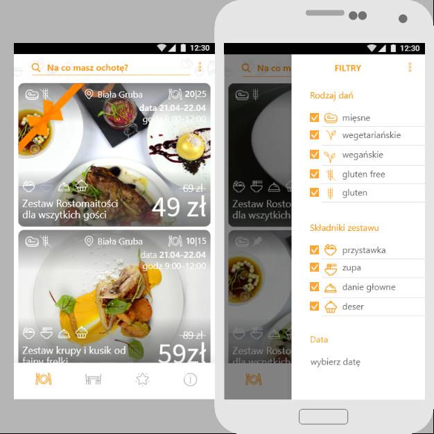 Zdjęcie aplikacji Resto natelefonie - prezentowane menu wyboru filtrów