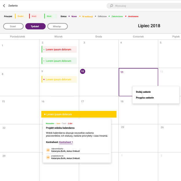 Zrzut ekranu systemu Icon - fragment kalendarza zzadaniami